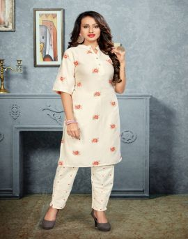 Sitka present 3503 White Rayon Kurti With Pant collection.
