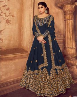 Aashirwad by Anarkali Gold Real Georgette Embroidered Salwar Suits