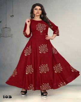 Gallberry Foil Tree Rayon Round Flair Kurti Collection