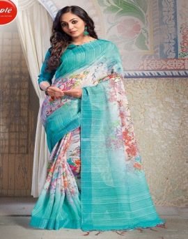 Apple by Hits of Aaradhna Linen Digital Printed Saree Collection
