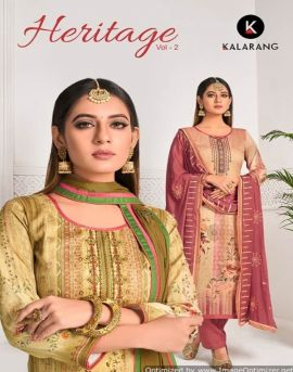 Kalarang by  Heritage  vol 2 Jam Silk Digital Printed Dress Material Collection