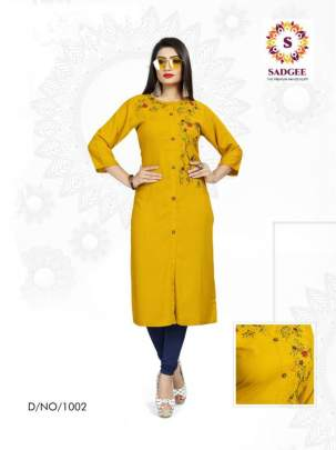 SADGEE MAITRI PLAIN RAYON LITTLE EMBROIDERED