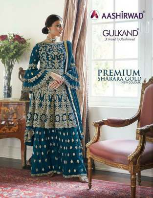 Aashirwad presents  Premium Sharara Gold New Colors Embroidered Suits