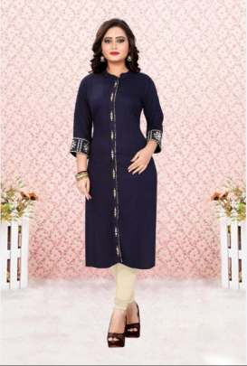 Blue Color Embroidered rayon kurti wholesale online