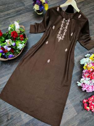 Buy Coffee Brown  SSL 607 Embroidered Ruby Cotton Kurti Online  Catalog