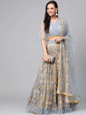 Designer Grey and golden rich look Lehenga Collection