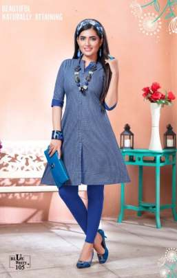 Kinti presents  Blue Berry Short Kurti Collection