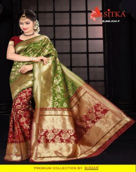 Natural Silk Sitka Fashion Traditional Sarees