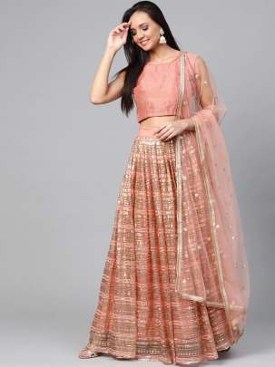 Peach-coloured and golden lehenga choli with dupatta