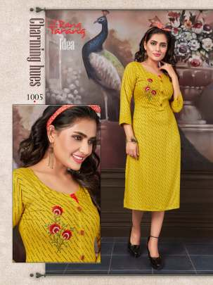 RANG TARANG IDEA EMBROIDERED SLUB RAYON