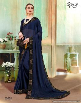 Saroj By Sapphire Black Rangoli Silk Heavy Saree Collection