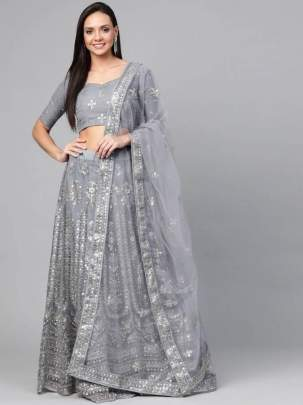 Star Grey Heavy Net Festive Wear Lehenga Collection