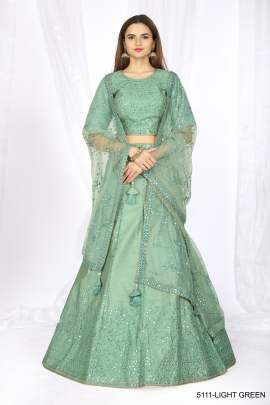Women's Heavy Net Green Lehenga Choli