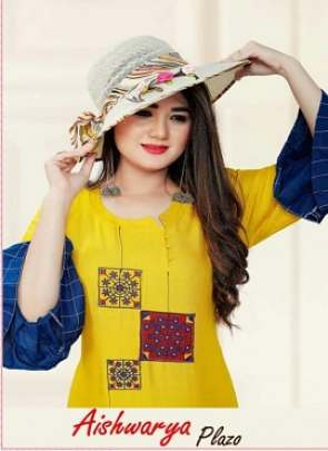 AAGYA AISHWARYA PLAZO HEAVY RAYON FANCY KURTI WITH BOTTOM