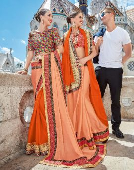 Twin Sister 4 Embroidary Saree Catalog at saree wholesalers