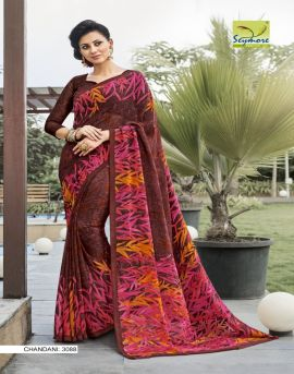 Chandani 5 seymore print printed saree set
