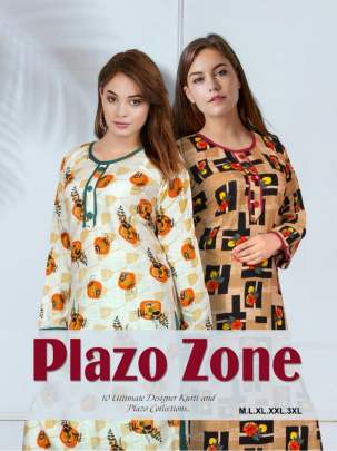 FT PLAZO ZONE 3 HEAVY RAYON PRINTED KURTI WITH PLAZO