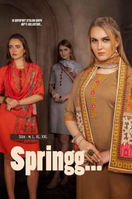 FT SPRINGG HEAVY RAYON SLUB KURTI WITH PRINTED DUPATTA