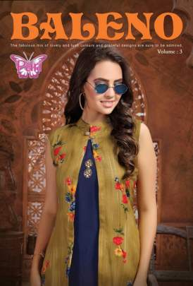 PARI BALENO 3 HEAVY RAYON KURTI WITH PRINTED SHRUG