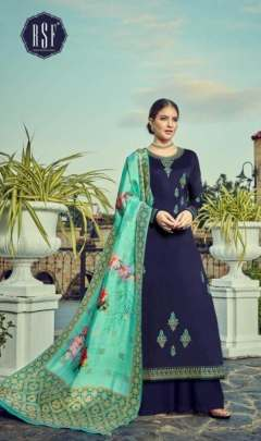 Rsf by Sheesha Pure Satin Georgette Embroidered Salwar Suits