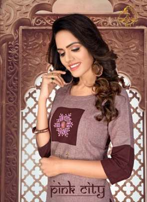Rt Pink City Heavy Cotton Casual Wear Kurti With Pant
