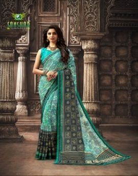 Sanskar by manorama designer printed sarees catalogue